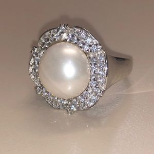Jewelry - Real Diamond and Freshwater Pearl Ring
